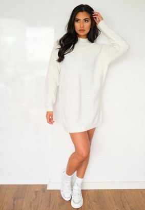 Missguided Petite White Rib Knit High Neck Sweater Dress