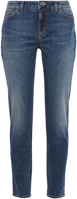 Dolce & Gabbana Appliqued Faded Mid-rise Slim-leg Jeans