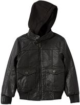 Urban Republic Boys 4-7 Hooded Faux-Leather Moto Jacket