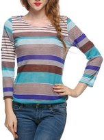 SoForYou SFY New Fashion Women Casual O-neck Long Sleeve Striped Knit Tops Loose T-Shirt