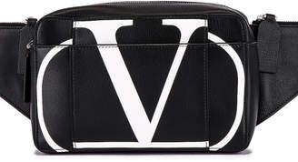 Valentino Logo Waist Bag in Black & Optic White   FWRD