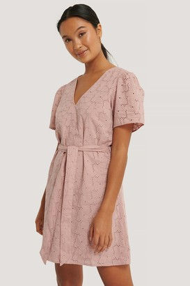NA-KD V-Neck Tie Waist Anglaise Dress