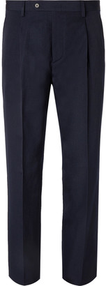 Navy Slim-Fit Tapered Pleated Wool And Linen-Blend Trousers