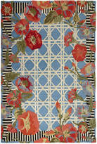 "Mackenzie Childs MacKenzie-Childs Blue Morning Glory Indoor/Outdoor Runner, 2'8"" x 8'"