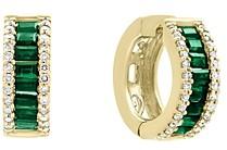 Bloomingdale's Emerald and Diamond Hoop Earrings in 14K Yellow Gold - 100% Exclusive