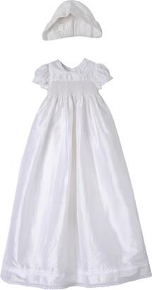 Laura Ashley Smocked Shantung Gown & Bonnet
