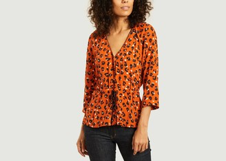 La Petite Francaise Blanche 3 4 Sleeves Panther Pattern Blouse - 36