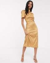 Fashion Union high neck tea dress with balloon sleeve in yellow floral satin