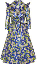 DELPOZO Metallic Floral-brocade Coat - Blue