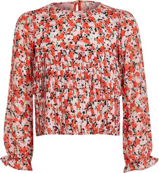 River Island Girls Pink floral pleated frill blouse