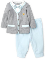 Little Me Newborn/Infant Boys) Two-Piece Bowtie Top & Corduroy Pants Set