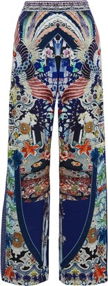 Camilla Darling's Destiny Crystal-embellished Printed Silk Wide-leg Pants