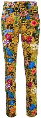 Versace Tropical Baroque-Print Skinny Jeans