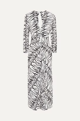 Rixo Rose Open-back Ruffled Animal-print Silk Maxi Dress - White