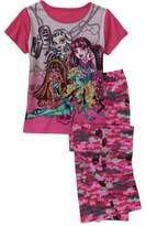 Monster High Girls' 2 Piece Short Sleeve Tee and Pant Pajama Set, L(10-12)