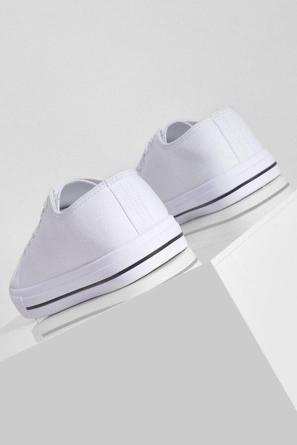 Thumbnail for your product : boohoo Wide Fit Low Top Canvas Trainers