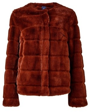 Dorothy Perkins Womens Brown Short Faux Fur Jacket, Brown