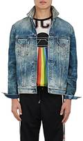Gucci Men's Appliquéd Distressed Denim Jacket