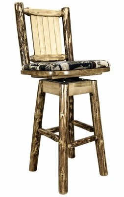 "Loon Peak Tustin Counter Height Barstool W/ Back & Swivel, Woodland Upholstery W/ Laser Engraved Elk Design Seat Height: Counter Stool (24"" Seat Heigh"