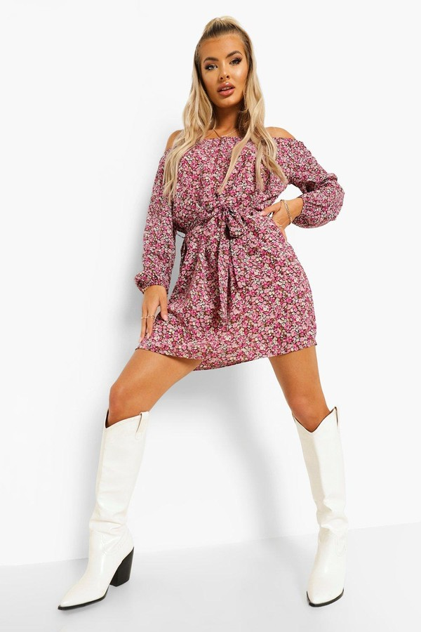 Thumbnail for your product : boohoo Floral Print Off The Shoulder Shift Dress
