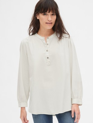 Gap Shirred Denim Popover Shirt