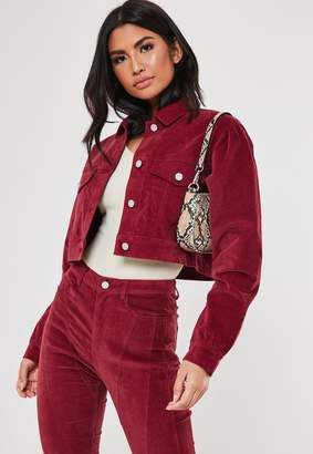 Missguided Tall Berry Co Ord Cropped Cord Jacket