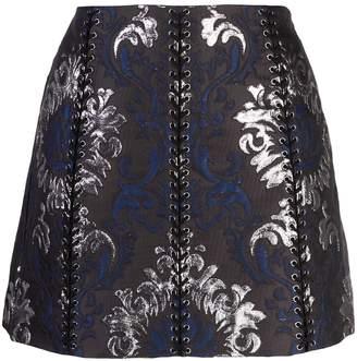 Vera Wang lace-up detail mini skirt
