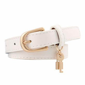 Xlygood Women'S Faux Leather Alloy Pin Buckle Belt Fashion Key And Lock Decoration Accessories Personalized Slim Belt