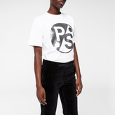 Paul Smith Women's White 'PS' Logo Foil-Print T-Shirt
