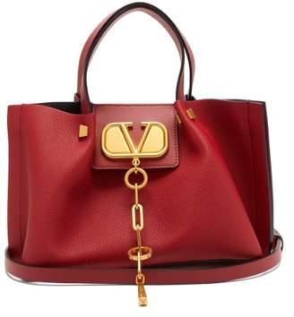 Valentino V-chain Escape Small Grained-leather Tote Bag - Womens - Red