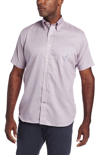 Nautica Men's Short Sleeve Twill Herringbone Check Shirt