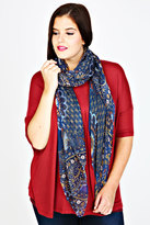 Yours Clothing Navy & Yellow Floral Paisley Print Scarf