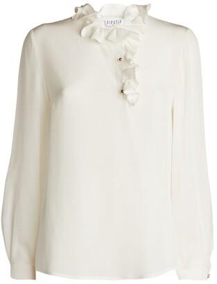Claudie Pierlot Ruffled Silk Blouse