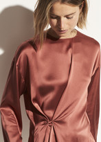 Silk Knot Front Blouse