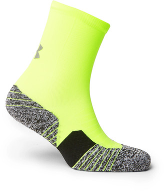 Under Armour UA Run Cushioned Melange Stretch-Knit Crew Socks - Men - Yellow