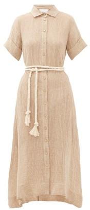Lisa Marie Fernandez Rope-belt Linen-blend Gauze Shirtdress - Womens - Beige