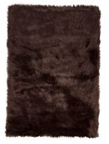 Luxe Hudson Faux Fur Sheepskin 2-Foot x 3-Foot Shag Rug/Throw in Chocolate