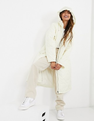 Selected quilted coat with hood in winter white