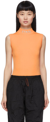 Heron Preston Orange Style Mock Neck Bodysuit