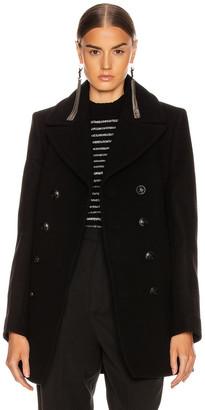 Saint Laurent Button Drape Coat in Black | FWRD