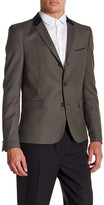The Kooples Brown Sharkskin Three Button Notch Lapel Wool Regular Fit Jacket