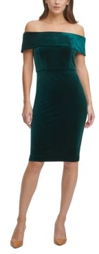 Calvin Klein Off-The-Shoulder Velvet Sheath Dress