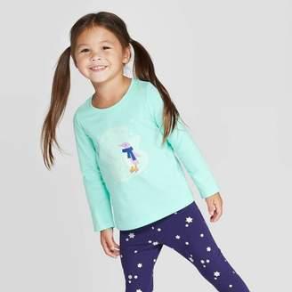 Cat & Jack Toddler Girls' Long Sleeve 'Penguin' T-Shirt - Cat & JackTM Mint