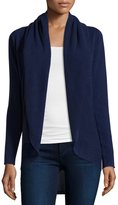 Neiman Marcus Cashmere Open-Front Circular Cardigan, Navy