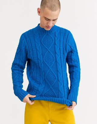 Asos DESIGN heavyweight cable knit turtle neck jumper in cobalt blue