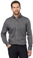 Jeff Banks Dark Grey Jacquard Tailored Fit Shirt