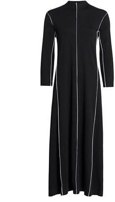 Joan Vass Contrast-Trim Maxi Dress
