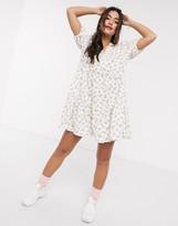 Asos Design DESIGN mini smock dress with v neck in floral print