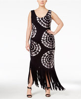 INC International Concepts Plus Size Tie-Dyed Fringe Maxi Dress, Created for Macy's