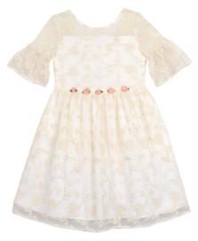 Laura Ashley Toddler Girls Embroidered Mesh Dress